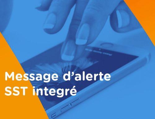 Message d'alerte SST intégré dans le plan SST